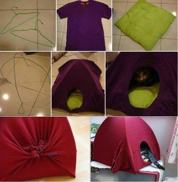 Diy Cat House With a T-shirt and wire hangers