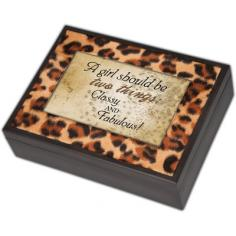 """This Leopard print music box can hold a personal photo. Features: -Digital collection. -Matte Black finish. -Silver feet. -Velvet lining with Jewelry insert. -Photo frame lid. Dimensions: -2.25"""" H x 8.25"""" W x 6"""" D, 1.4 lbs."""
