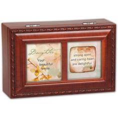 "This Petite music box can hold a personal photo. Plays Wonderful World when opened. Features: -Petite collection. -Wood Grain finish. -Bronze feet. -Velvet lining. -Photo frame lid. Dimensions: -2.13"" H x 6"" W x 3.88"" D, 0.8 lb."